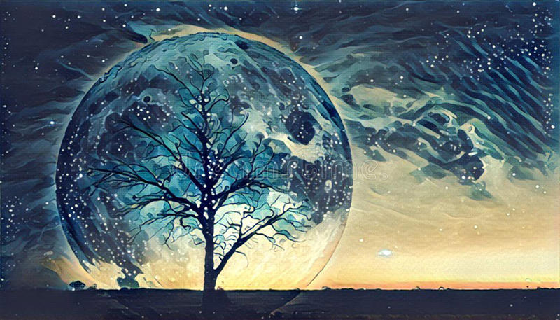 Fantasy landscape Illustration - Lonely bare tree silhouette wit royalty free illustration