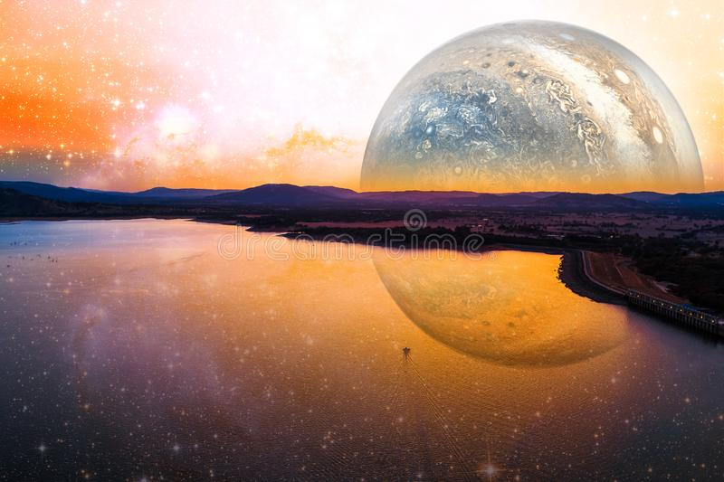 Fantasy landscape of lonely boat sailing across scenic lake on alien planet. Elements of this image furnished by NASA. Fantasy landscape of lonely boat sailing vector illustration