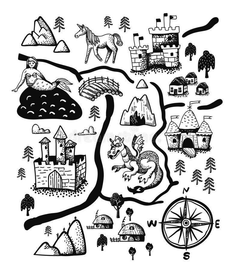 Fantasy landscape map with Fairy tale castle, dragon, unicorn, mermaid. Old medieval treasure cartography, hand drawn vector illustration