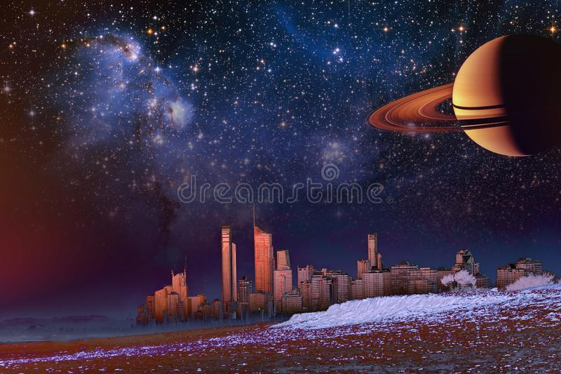 Fantasy landscape - modern city skyline over dune and mist. Elements of this image furnished by NASA. Fantasy landscape - modern city skyline over dune and mist royalty free illustration