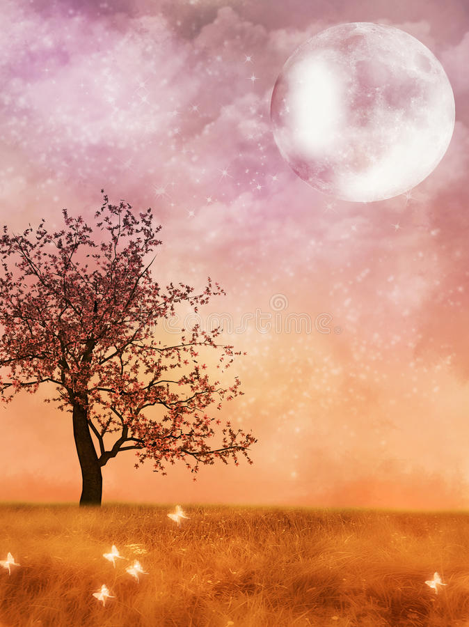 Fantasy Landscape with moon. And cherry blossom tree stock illustration