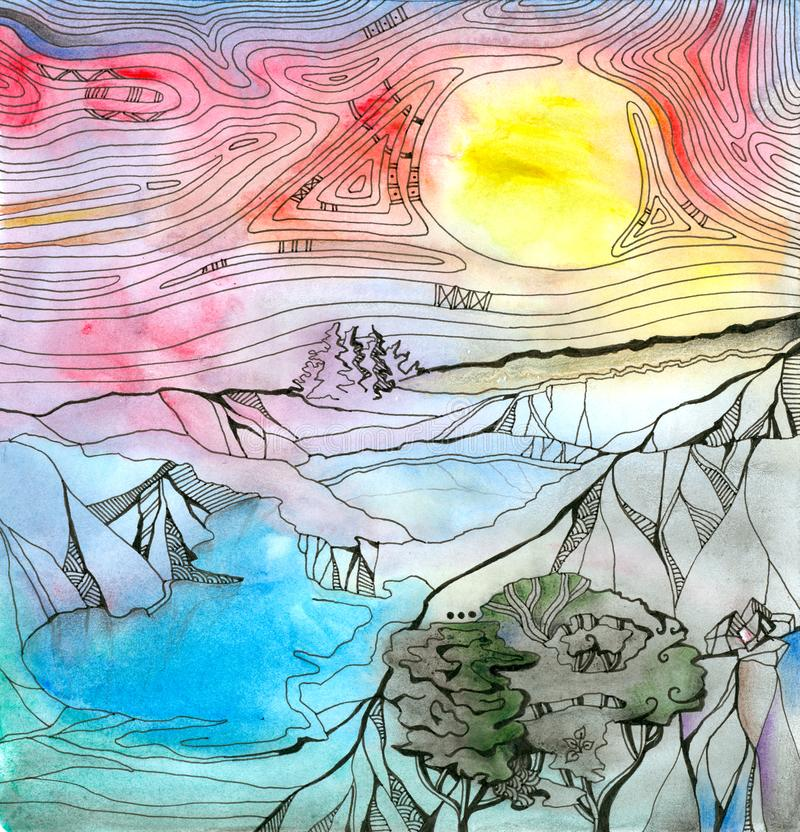 Fantasy landscape with mountains, lakes and trees. Colorful sky with bright yellow sun. Hand drawn picture stock illustration