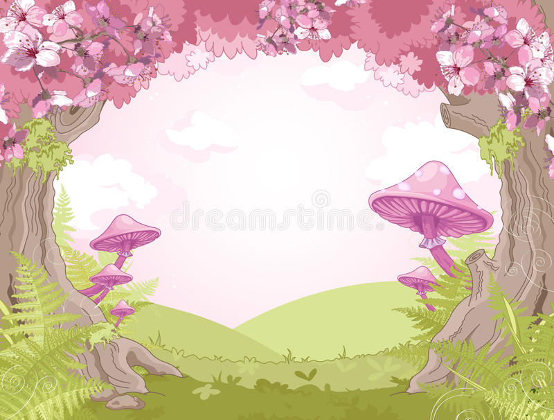 Fantasy landscape. With mushrooms and trees stock illustration