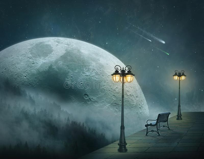 Fantasy landscape at night with big moon vector illustration
