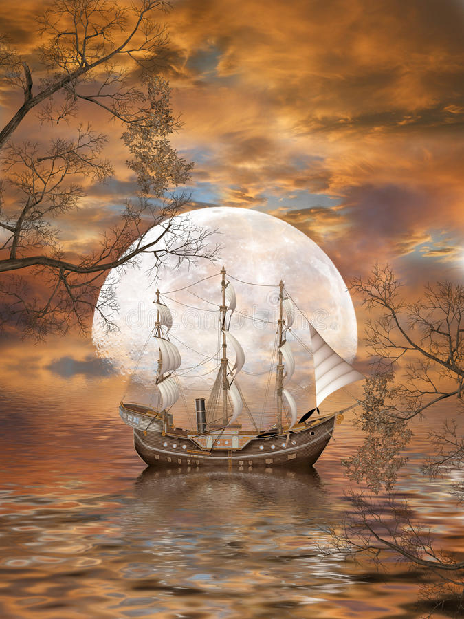 Fantasy Landscape. In the ocean with old ship royalty free illustration