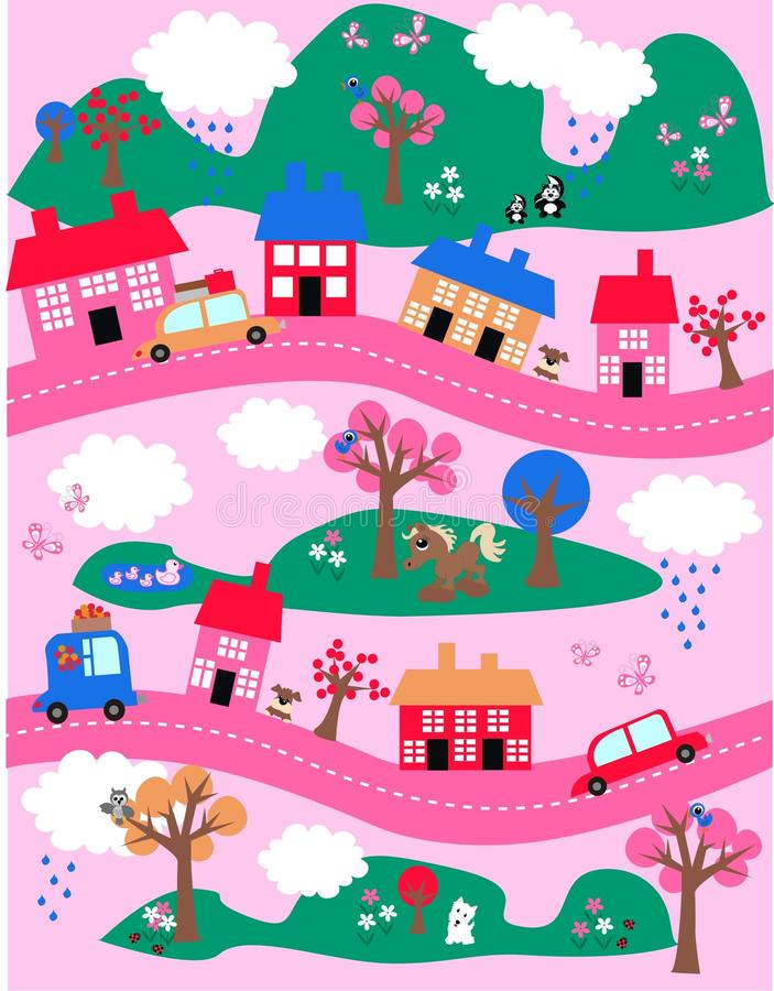 Fantasy landscape pattern. In bright colours royalty free illustration