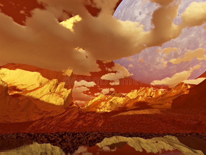Fantasy landscape (red). A fantasy or science-fiction Martian landscape on a sunny red day (3D render using Terragen 2 royalty free illustration