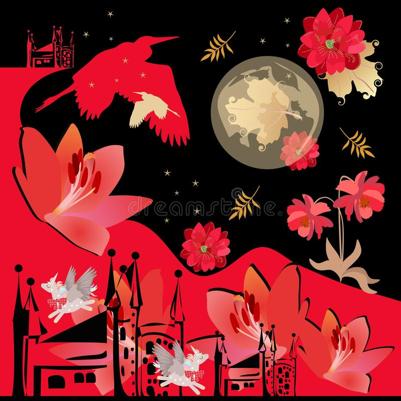 Fantasy landscape with red flowers, winged unicorns, moon and stars in night sky, silhouettes of herons, castle, red mountains. And autumn leaves. Bandana print stock illustration