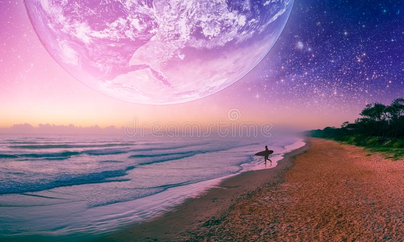 Fantasy landscape of surfer silhouette walking on the beach of alien planet. Elements of this image furnished by NASA. Fantasy landscape of surfer silhouette royalty free illustration