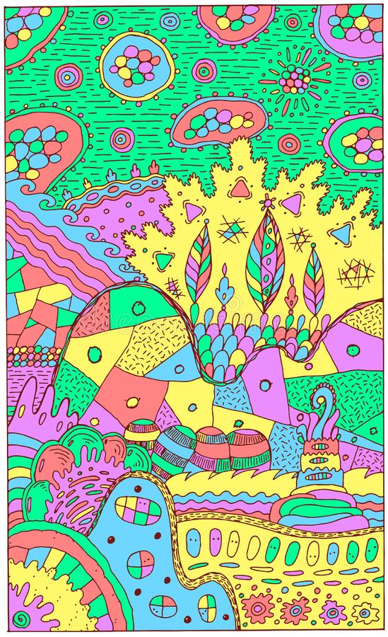 Fantasy landscape with surreal houses and trees. Psychedelic fantastic multicolor artwork. Vector illustration.  vector illustration