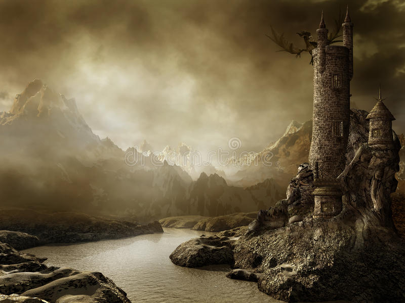 Fantasy landscape with a tower royalty free illustration