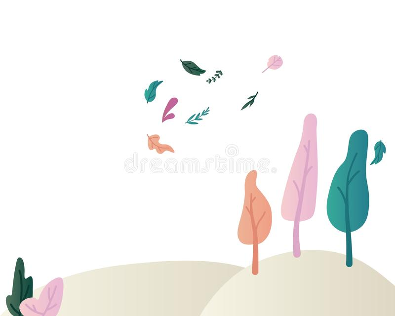 Fantasy landscape vector illustration with beautiful magic trees and shrubs on hills and flying leaves. vector illustration