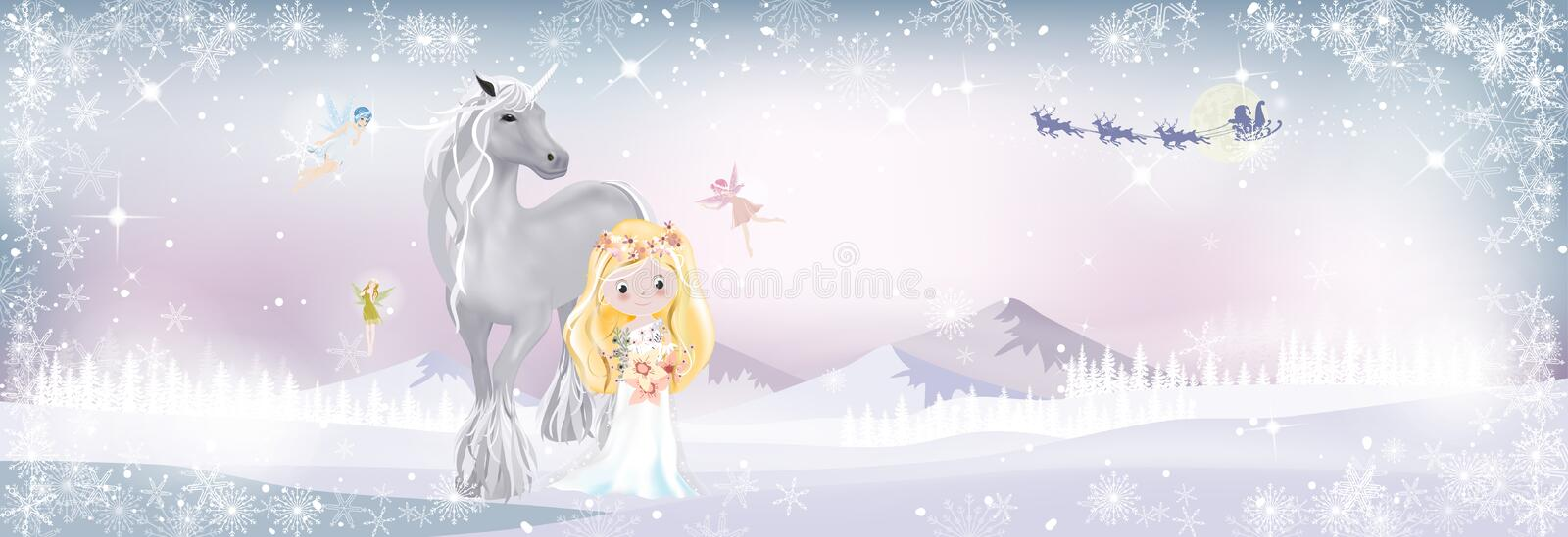 Fantasy landscape winter wonderland with Cute princess and unicorn in magic forest with little fairies flying with Santa Claus stock illustration