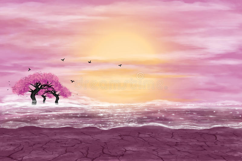 Fantasy landscape in yellow and pink colors. A water in a desert, and flowering trees. Digital art vector illustration