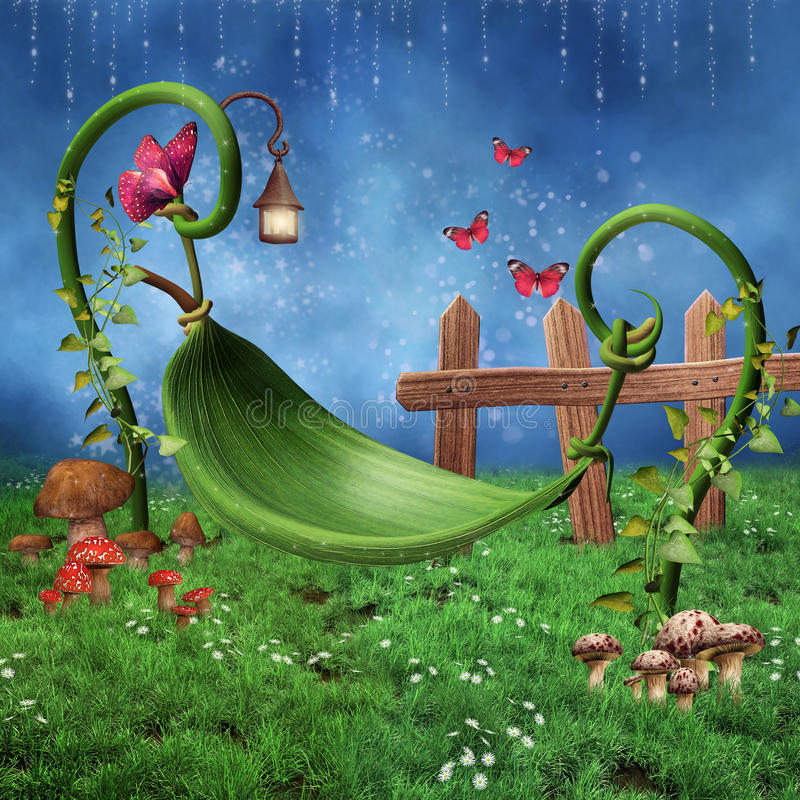 Fantasy leaf hammock royalty free illustration