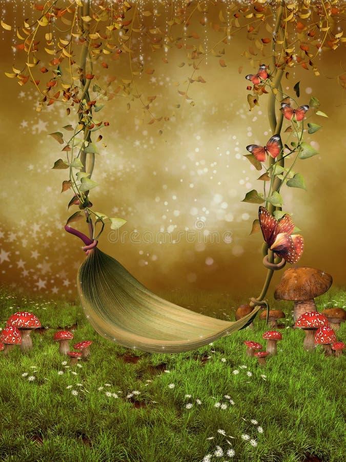 Fantasy leaf swing. Fantasy fairy garden with a leaf swing