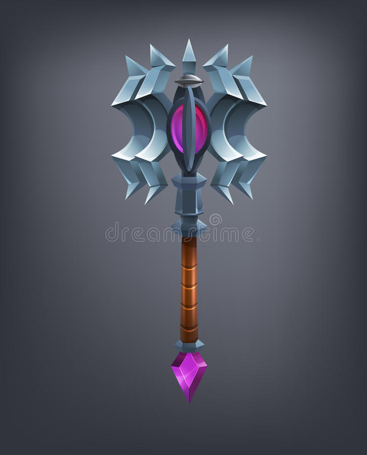 Fantasy mace weapon for game or cards. Vector illustration royalty free illustration