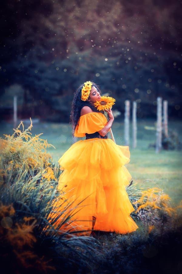 Free Fantasy Magic Fairy Nymph In Yellow Dress Stock Photos - 188941083