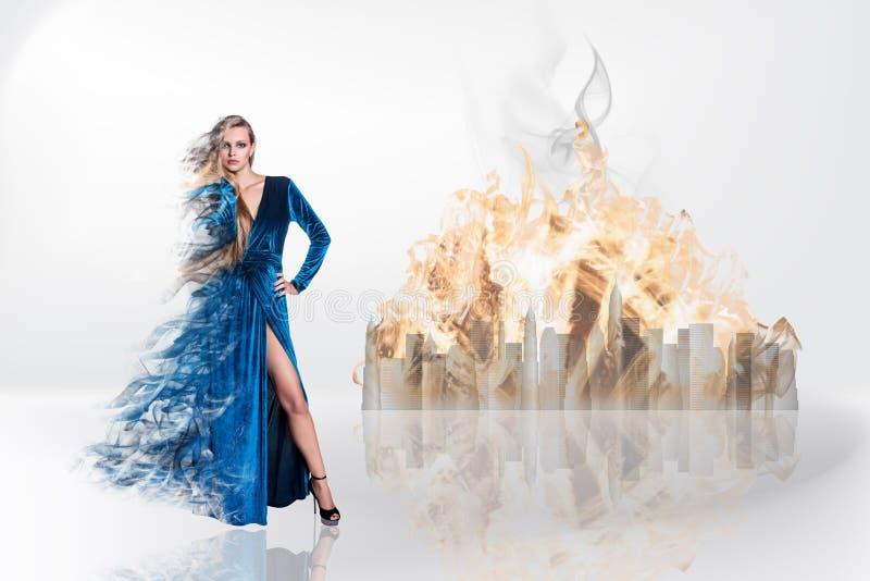 Fantasy magic portrait of beautiful woman stock images