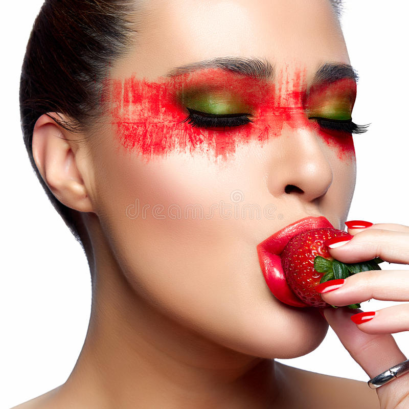 Fantasy Makeup Painted Face Strawberry Stock Image