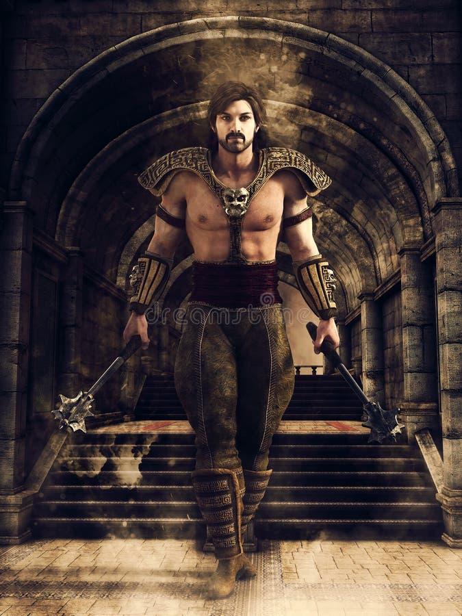 Male warrior in a castle corridor vector illustration