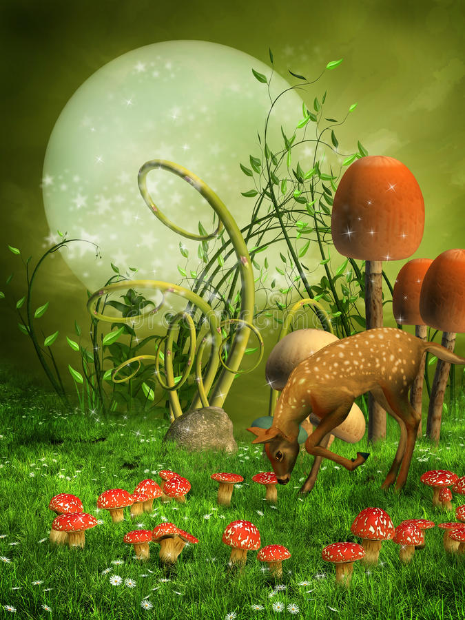 Fantasy meadow with a deer royalty free illustration