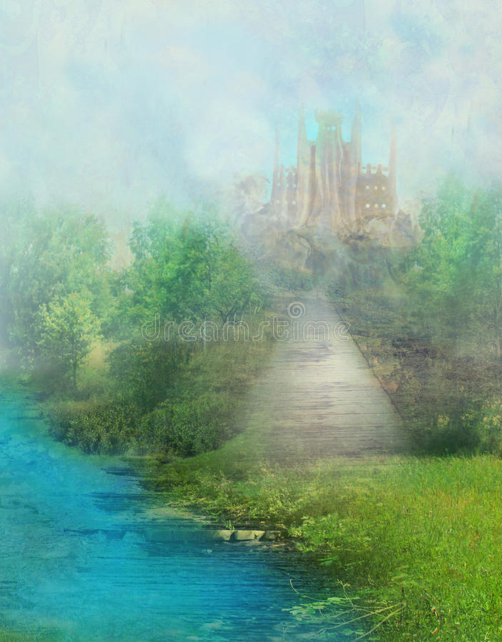 Fantasy meadow with a fairytale tower royalty free illustration
