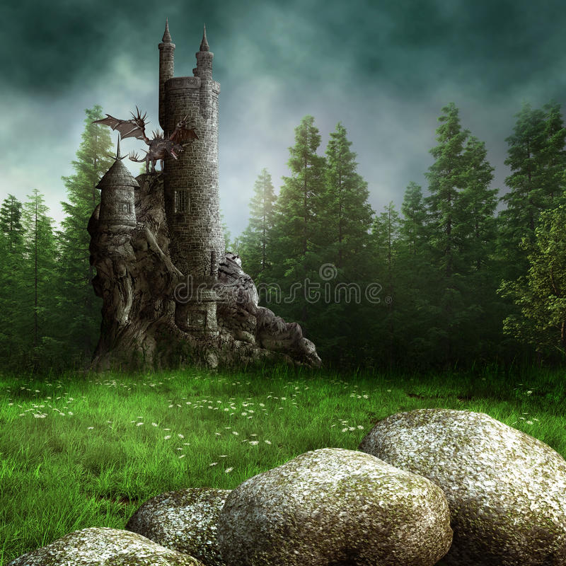 Fantasy meadow with a tower royalty free illustration