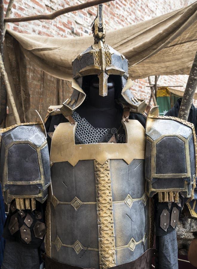 Fantasy medieval metal armor protective wear swordman. Fantasy Medieval armor warrior metal protective wear swordman stock photography