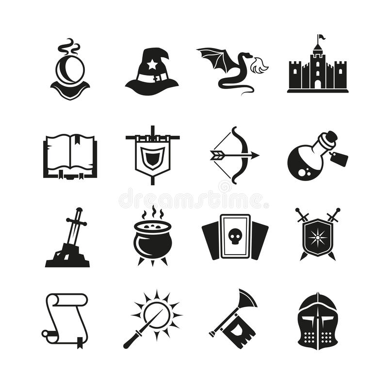 Fantasy medieval tale vector icons. Mystery magic and knight pictograms vector illustration