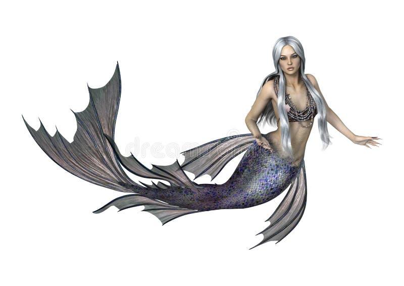 Fantasy Mermaid on White. 3D digital render of a beautiful fantasy mermaid isolated on white background stock illustration