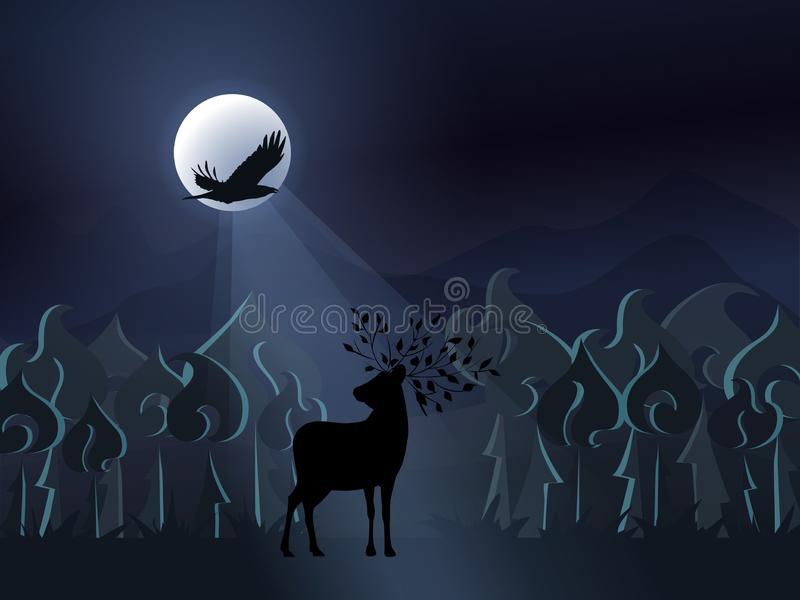 Fantasy misty night forest with a deer silhouette and a flying black bird on the background of the full moon. Vector royalty free illustration