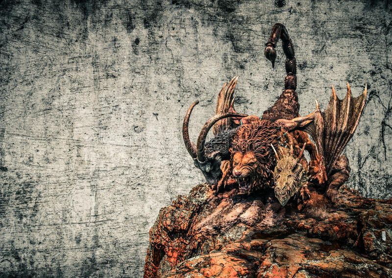 Beast monster. Coloured view of three headed monster called chimera sat on a rock stock images