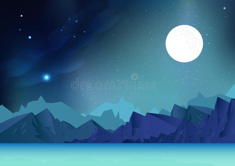 Fantasy mountains abstract background vector illustration with planet and galaxy space, stars scatter on milky way, landscape of. Arctic concept vector illustration