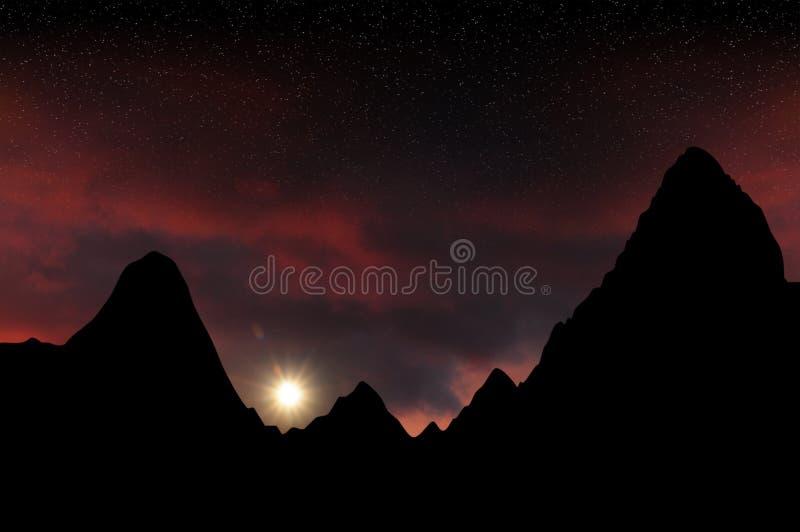Fantasy mountains sunset stock photo