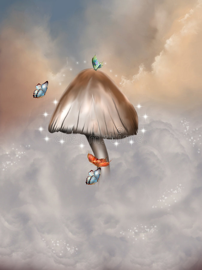 Fantasy mushroom. Fantasy background with butterfly and mushroom stock illustration