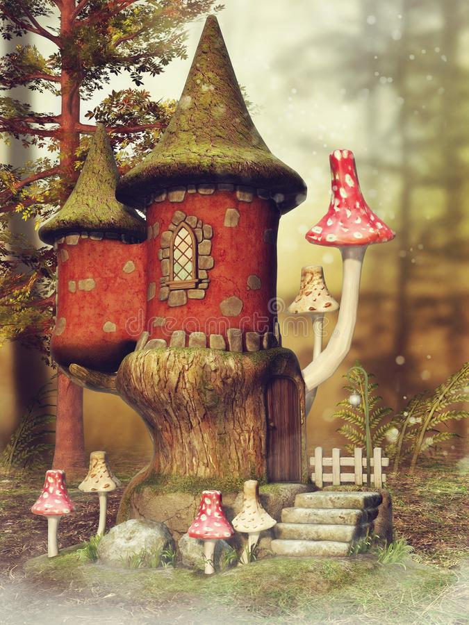 Fantasy mushroom castle and fern. Autumn scene with a fantasy mushroom castle and fern on a meadow in the woods vector illustration
