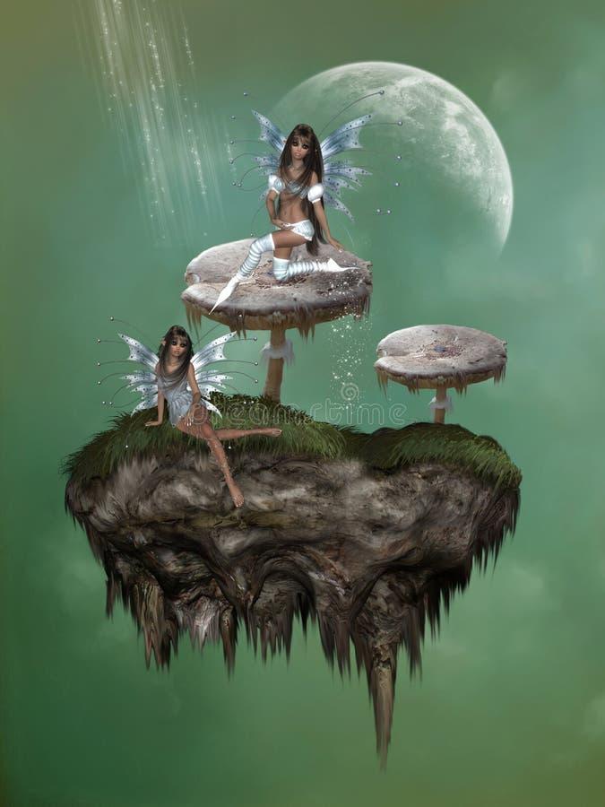 Fantasy mushroom with fairies vector illustration
