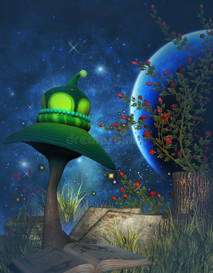 Fantasy mushroom and garden vector illustration