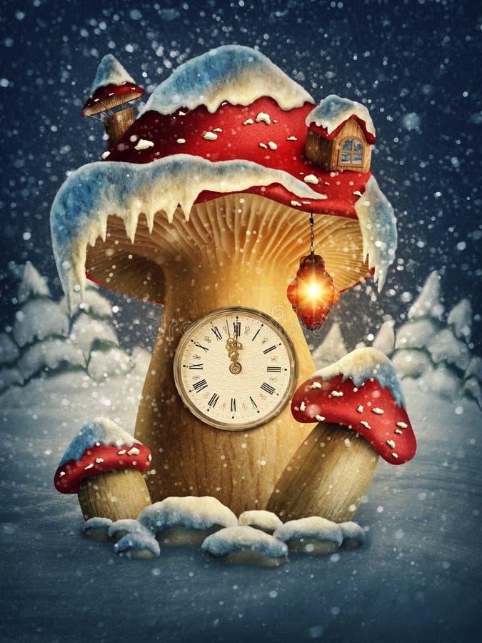 Fantasy mushroom house stock illustration
