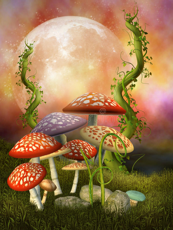 Fantasy mushrooms royalty free illustration