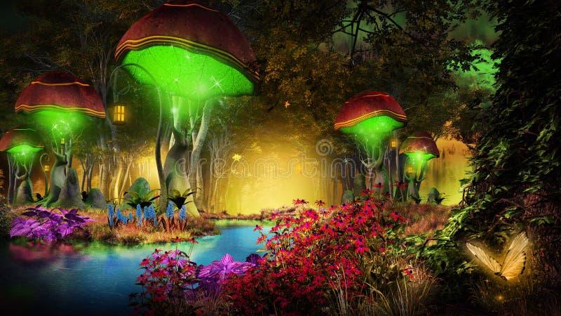 Fantasy mushrooms in the forest vector illustration