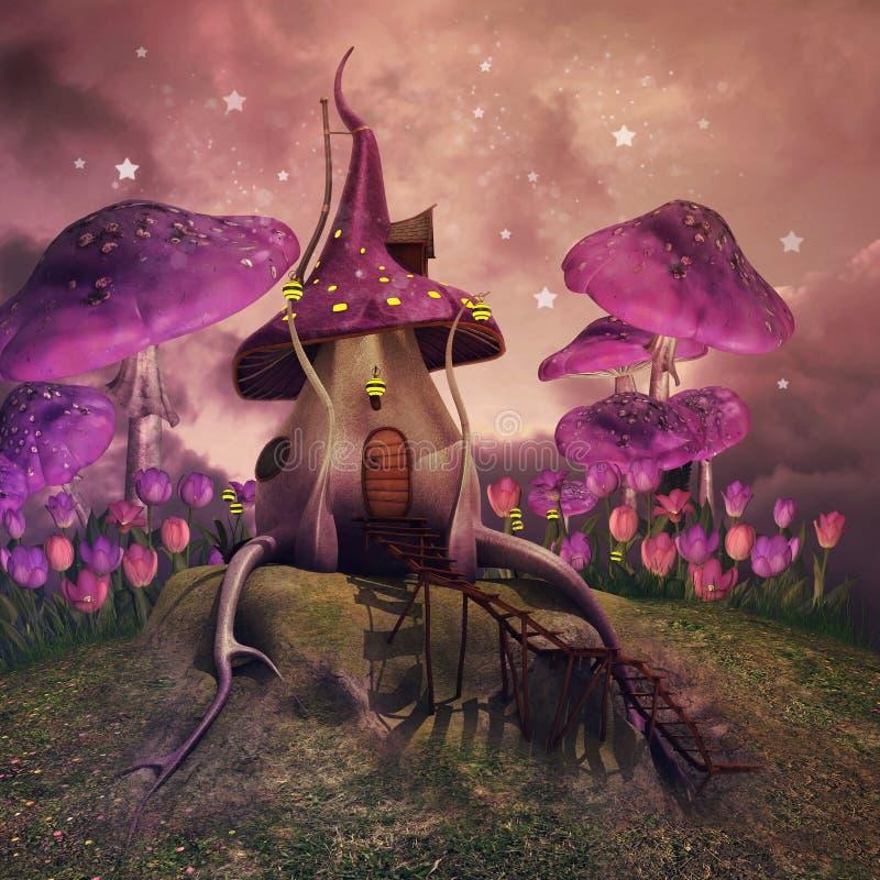 Fantasy mushrooms on a hill vector illustration