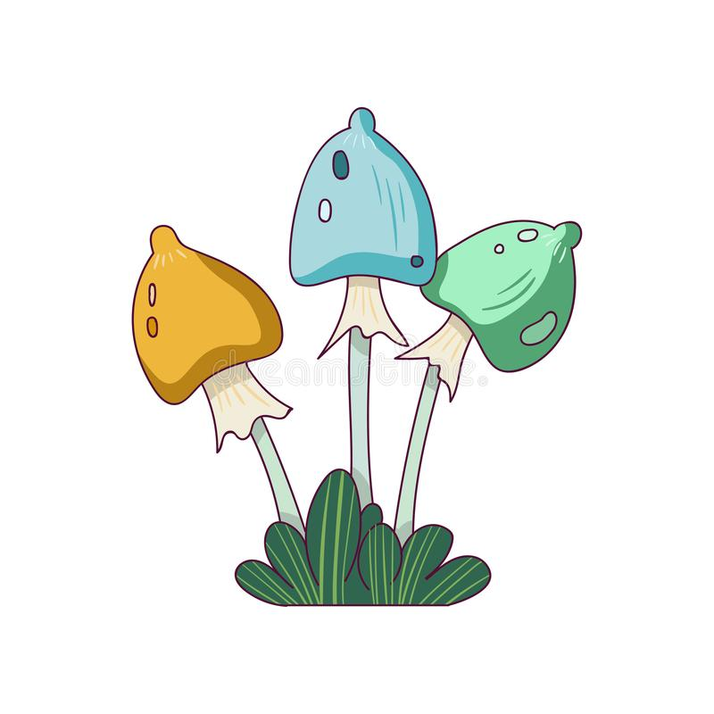 Fantasy mushrooms in line style. Colorful fairy plant from wonderland. stock illustration