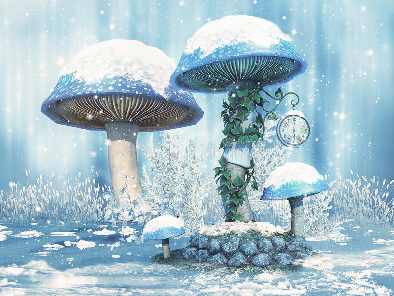 Fantasy mushrooms with snow royalty free illustration