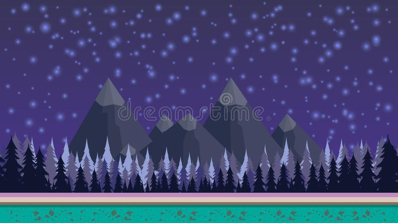 Fantasy mysterious seamless background for mobile game, layered. With mountains and fores on background and stars royalty free illustration