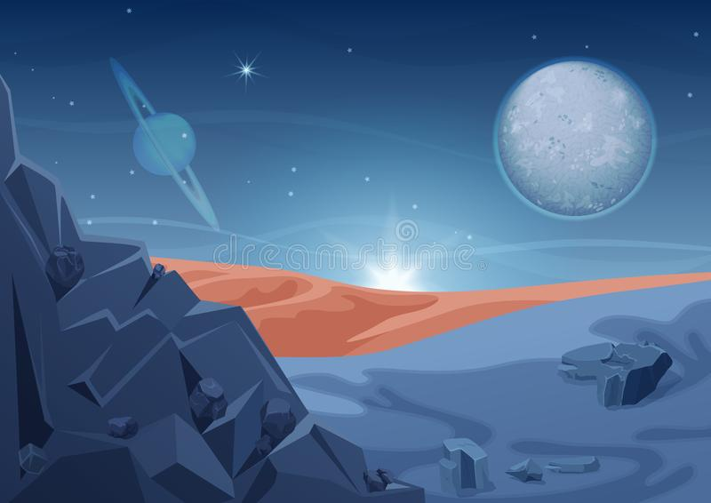 Fantasy mystery alien landscape, another planet nature with rocks and planets in sky. Game design vector galaxy space stock illustration