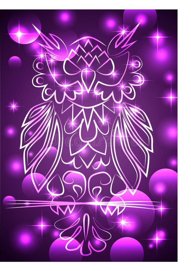 Fantasy mystical purple owl, neon color, psychedelic vintage style. Isolated pattern. Cartoon character ornament bird decorative vector illustration