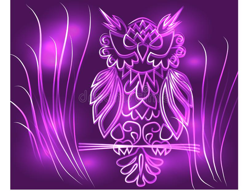 Fantasy mystical purple owl, neon color, psychedelic vintage style. Isolated pattern. Cartoon character ornament bird decorative royalty free illustration