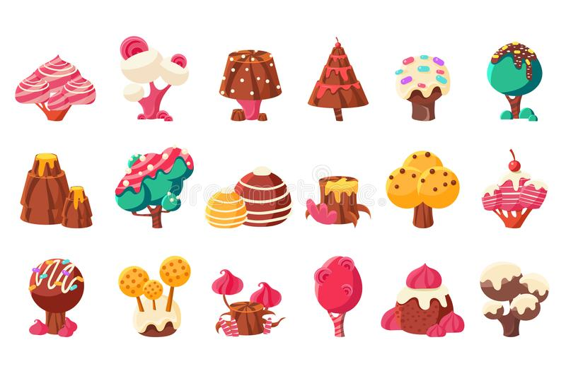 Fantasy nature landscape elements, sweet candy land vector Illustrations on a white background vector illustration